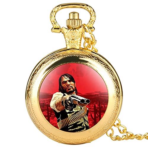 Red Dead Theme Reloj de Bolsillo de Cuarzo Números árabes Ocasionales Hombres Mujeres Reloj Steampunk Colgante Collar Relojes Reloj De Bolsillo-Silver SP399, a