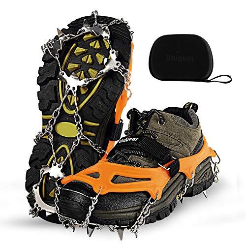 Unigear Ramponi da Ghiaccio per Scarponi 18 Denti 201 Copertura in Acciaio con Catene in Acciaio Inossidabile per Camminare su Neve e Ghiaccio