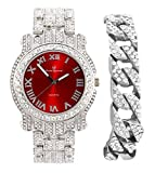 Bling-ed Out Silver Round Luxury Mens Watch w/Bling-ed Out Cuban Bracelet - L0504B - Cuban (Roman Silver Blood Red)