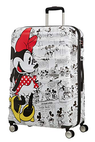 American Tourister Wavebreaker Disney, Comics, Spinner L Children's Luggage, 77 cm, 96 Litre, Multicolour (Minnie Comics White)