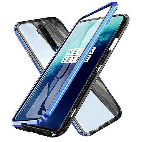 Handyhüllel für OnePlus 7T Pro Hülle, 360 Grad Vorne & Hinten Gehärtetes Glas Transparente Hülle Cover, Stark Magnetische Adsorption Metallrahmen Handyhülle Hülle - Blau