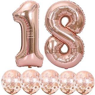 Número 18 y globos de confeti de oro rosa, 40 pulgadas