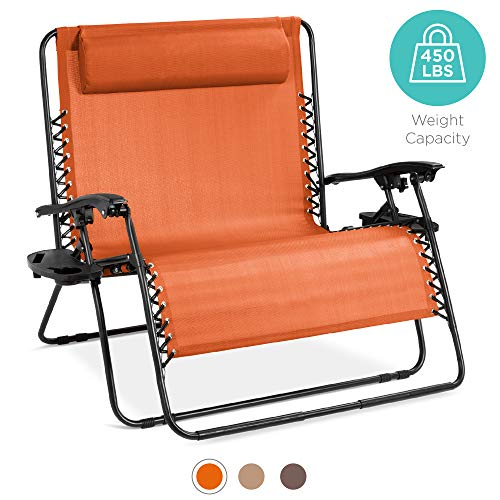 Best Choice Products 2-Person Double Wide Outdoor Folding Zero Gravity Chair Patio Lounger w/Cup Holders -Orange