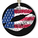 EaYanery USA Pintalabios adorno (redondo) personalizado de cerámica para día festivo de Navidad...