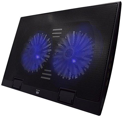 Ewent EW1257 Base de refrigeración gaming para ordenador portátil de 12 a 17 pulgadas con 4 puertos USB Hub, 2 ventiladores y luz LED blu, color negro