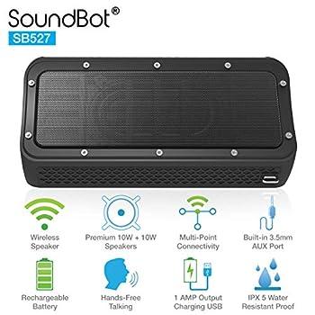 SoundBot SB527 Bluetooth 4.2 Wireless 20W Speaker Water & Shock Resistant for 12Hrs Music Streaming HandsFree Calling
