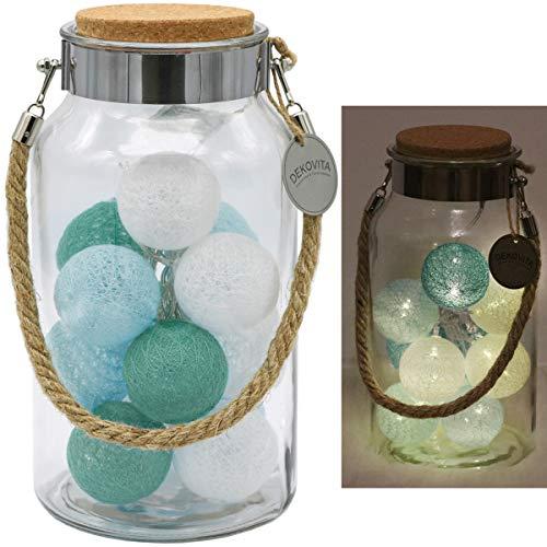 Dekovita 30cm Lanterne décorative Tronje LED 6cm Boules Coton Guirlande lumineuse 4h Minuterie Turquoise-Bleu Blanc A piles