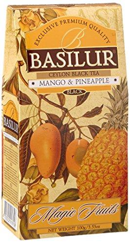 100% Reiner Schwarzer Blatt-Tee aus Ceylon mit Ananas 5,5%, Mango 5,5%, Orangenschale 2%, Kornblumen 0,25%, Aroma (Mango, Ananas, Passionsfrucht)