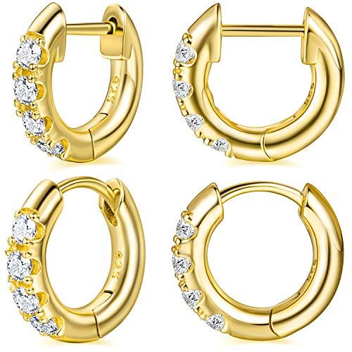 14K Gold Plated Huggie Hoop Earrings Cubic Zirconia Small Cuff Hoop Huggie Stud Earrings for Women 2 Pairs