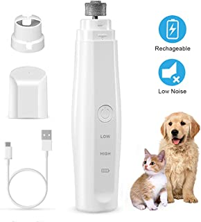 omitium Pet Dog Nail Grinder, Rechargeable Powerful Pet Nail Trimmer Quiet Low Vibration Painless Paws Grooming for Small Medium Large Dogs Cats Birds Animals