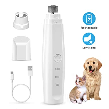 Dog Nail Grinder,Rechargeable Dog Nail Trimmer,Powerful Electric Pet Nail Grinder,Painless Paws Grooming for Small Medium Large Dogs Cats Birds Animals