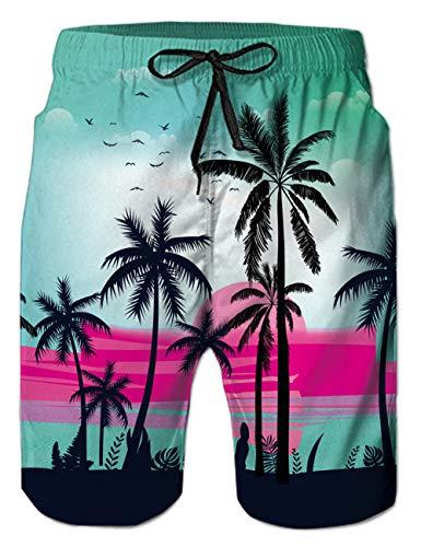 Belovecol Mens Swim Trunks Fashion Palm Tree Graphic Board Shorts Quick Dry Lightweight Hawaiian Style Swimwear All Over Print Bathing Shorts Waterproof Plus Size 3XL