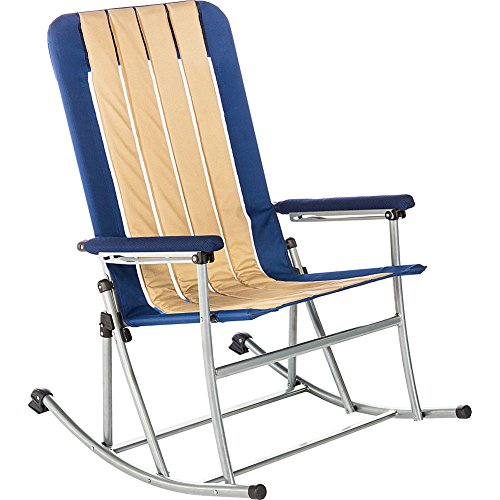 Kamp-Rite Folding Rocking Chair, Blue/Tan