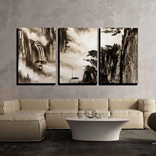 wall26 - 3 Piece Canvas Wall Art - Mountain Fog and a Hut on The Mountain - Modern Home Decor Stretched and Framed Ready to Hang - 24'x36'x3 Panels
