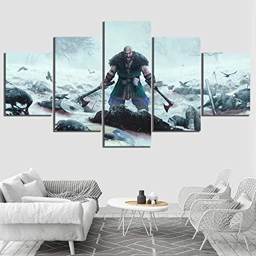 XIAYF VIKINGS Cuadro en Lienzo 5 Piezas Impresión Artística Material no Tejido, HD Pintura Arte Marco Lienzo Decorativo Sala Dormitorios Modernos Póster (150 x 80 cm)