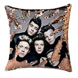 Jiamos One Direction Sequin Pillow Covers Funny Gag Gifts Magic Reversible Mermaid Throw Pillow Xmas Birthday Gift Accent Pillowcase 16x16 inches, no Filler (Champagne Gold)