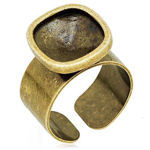 12 * 12mm Acerous Ring Base voor Swarovski 4461 Cabochon, 10 Stuks/partij