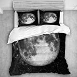 TARTINY Bedding Juego de Funda de Edredón Astrología Luna Llena en el Espacio