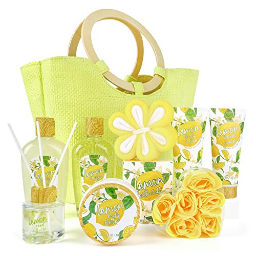 Spa Gift Baskets for Women, 10 Pcs Lemon Scent Bath Set in Beautiful Tote Bag - Best Women Gifts Set for Birthday/Christmas