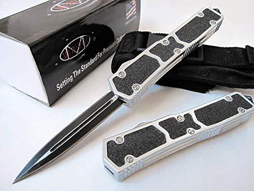 Outdoor blanc Couteau de Camping Lame à Ressort Multi Outils Couteau de Survie Ressort Couteaux pliants avec Couteau Pliable Clip Noir Couteau Aluminium Couteau de Chasse Marteau EDC/Gaine