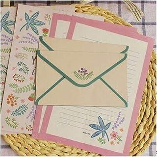 1 Set Cute Flower Envelopes Letter Pad Set Vintage Paper Letter Paper for Writing Letter Stationary Office School Supplies...