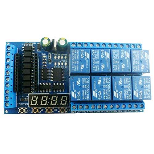 CXMY Tablero de relé Junta 8ch DC 12V Pro Mini Relay Escudo Módulo PLC retardo del Interruptor de Enclavamiento de Temporizador para Control de automatización.