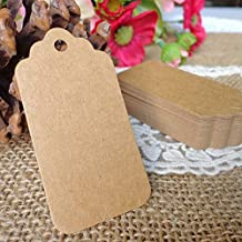 100 PCS Kraft PaperTags Large Christmas Gift Tags Price Tags Marking Hang Tags Rectangular Tags with 100 PCS Free tag Fasteners(Large, Natural)