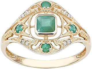 Pikul giftshop 10k Yellow Gold Vintage Style Genuine Emerald and Diamond Ring size 6-10 (8)