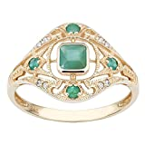 Pikul giftshop 10k Yellow Gold Vintage Style Genuine Emerald and Diamond Ring Size 6-10 (7)