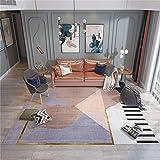 alfombras dormitorio pie de cama Alfombra lila con diseño de patrón de triángulo, decoración de la casa antiácaros, alfombra antideslizante para mesa de centro alfombras salon grandes baratas -Lavand