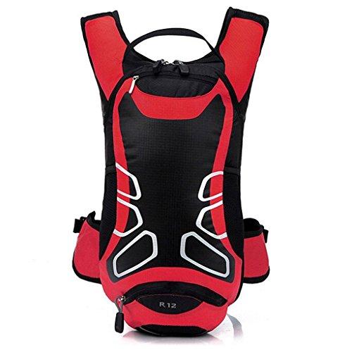Seau souple imperméable pour vélo Sac à dos à bandoulière Ultralight Sport Extérieur Camping Voyage d'équitation Alpinisme d'hydratation Eau Sac rouge Rouge 12L