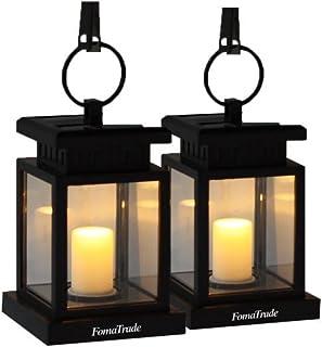 Hanging solar led Lights,Solar Lights Outdoor,Vintage Waterproof Solar Hanging Umbrella Lantern Led Candle Lights with Cla...