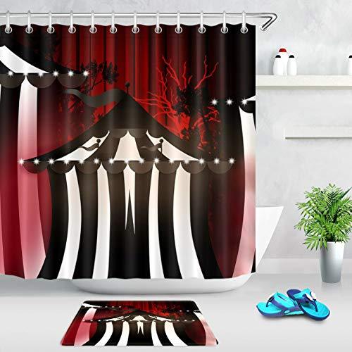 HYTCV Halloween black and white striped tent Digital printing bathroom curtain set is durable (12 hooks)