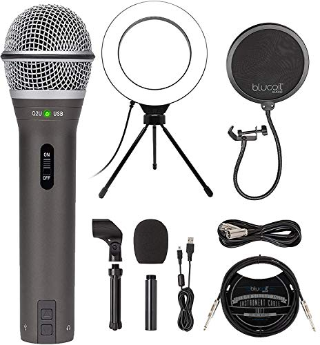 Samson Q2U Dynamic Microphone for Windows, Mac, and iOS Devices Bundle with Blucoil Pop Filter Windscreen, 6' Dimmable Selfie Ring Light, and 3-FT USB 2.0 Type-A Extension Cable