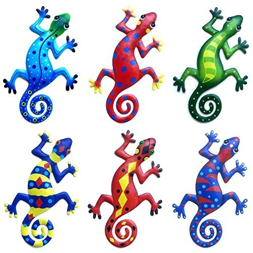6 Stück Metall Gecko Wanddekoration, Outdoor Wandkunst Dekoration Garten Ornamente Hängen für Hinterhof Veranda Home Wohnzimmer Büro Patio Rasen Zaun Wandskulpturen - 8,6 Zoll Länge