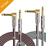 OTraki 2 Pack Electric Guitar Cables 10FT Instrument Cord 1/4 Inch Straight to Right...