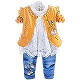 YYA 6M-4J - Jeans da bambina, 3 pezzi, con gonna in pizzo ricamata, giacca di jeans e jeans Fiore giallo. 2-3 Anni