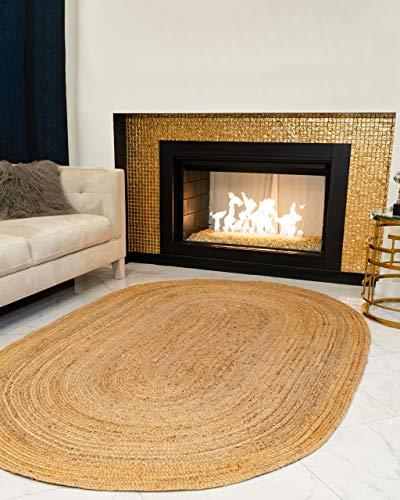 Natural Area Rugs – Handmade Reversible Elsinore Jute 8′ x 10′ Oval Rug Beige