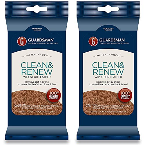Guardsman Clean & Renew Leather Wipes - 20 Count - Removes Dirt & Grime, Great For Leather Furniture & Car Interiors - 2 Pack