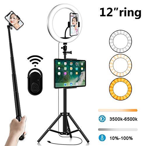 Thlevel Luz de Anillo LED Fotográfica de Escritorio 3 Colores 10 Brillos Regulables Control Remoto Bluetooth, Trípode con Soporte Giratorio de teléfono para Selfie, Maquillaje, Youtube, TIK Tok