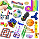 25 Pcs Sensory Fidget Toy Set, Stress Relief and Anti Anxiety Fidget Box for Kids and Adults, Marble Mesh, Mochi Squishy Toy, Stretchy Strings, Fidget Pad, Soybean Squeeze, Liquid Motion Timer & More