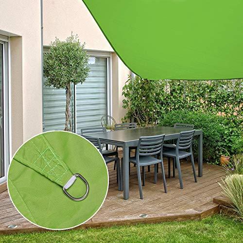 Milopon Sonnensegel Sonnenschutz aus Polyester, Wasserdicht, Wetterschutz, UV-Schutz, Sonnensegel für Garten Balkon Terrasse Pool Camping, mit 4 Seile, Sonnensegel Rechteckig (3x3m, Green-2)