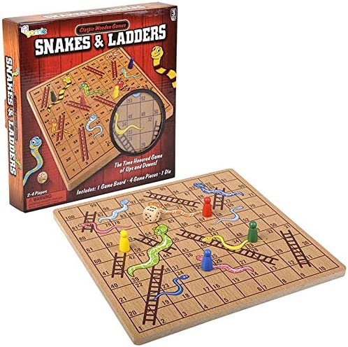 Gamie Wooden Snakes and Ladders Board Game Complete Set with Board 4 Pegs and 1 Die Classic product image