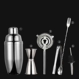 Cocktail Shaker Set Cocktail Shaker Set I Bar Tools، 6 قطعة كيت باراريج كيت - شاكر، جيغر، بار ملعقة، مصافي، بار مجموعة كوك...