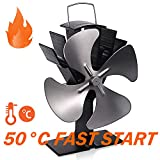 TACKLIFE Stove Fan, 4 Blades Fireplace Fan,Heat Powered for Hot Air Circulation, Super Quiet and Energy Efficient, Ideal for Large Space on Log/Wood Burner/Stove/Fireplace FPF01A