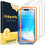 [3 Pack] UniqueMe Screen Protector for iPhone 12 Pro/iPhone 12 6.1 inch Tempered Glass 5G [Easy Installation Frame] HD Clear [Anti-Scratch] [Bubble Free]