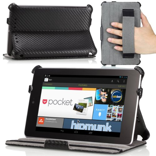 MoKo Case Compatible with Nexus 7 Case, Slim-Fit Multi-Angle Folio Cover Case Fit Google Nexus 7 Android Tablet by ASUS, Black (with Smart Cover Auto Wake/Sleep Feature)