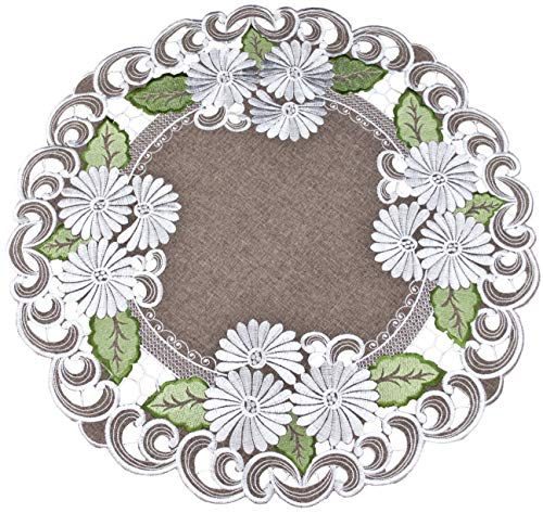 Small Tablecloth Centerpiece Large Doily Embroidered with a Silver White Daisy on Brown Burlap Linen...