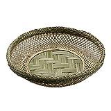 TPCYAN Obtenga Productos Cestas de Mimbre Redondas - Tejido bambú Fruta bocadillos Pan pequeño Mimbre Almacenamiento cestas de Regalo 20 × 4.5cm / 24 × 5cm / 27 × 5,5 cm (Size : 24cm)