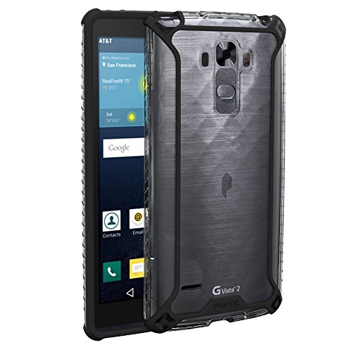 LG G Vista 2 Case, POETIC Affinity Series Premium Thin/No Bulk/Protection Where its Needed/Clear/Dual Material Protective Bumper Case for LG G Vista 2 (2015) Black/Clear